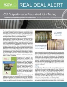 Corrugated Steel Pipe Outperforms in Pressurized Joint Testing