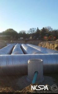 stormwater management underground corrugated metal detention system Metal Culverts Inc detention system