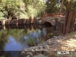 creek restoration fish passage arch structure