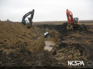 Spillway pump station arched storm drain storm drain